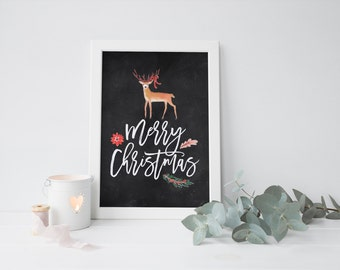 chalkboard christmas deer printable · vintage christmas · holiday print · deer printable · chalkboard christmas art · christmas decor sign