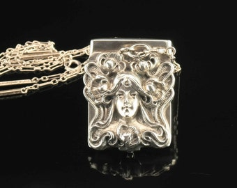 Sterling Silver Art Nouveau Storage/Matchbox Pendant on Necklace 22""