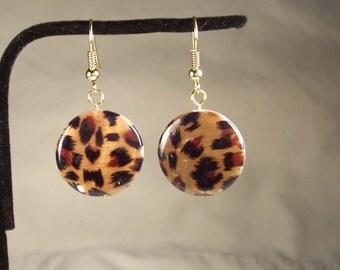 Round Earrings, Shell Earrings, Leopard Earrings, Animal Earrings, Animal Print Earrings, Brown Earrings, African Earrings