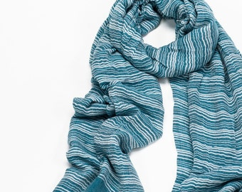 Teal Striped Scarf , Ladies Stripey Scarf , Green Wrap with White Stripes, Shawl