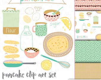 Pancake clipart set - Crêpes clip art with coordinating patterns/ paper - instant download - royalty free - small commercial use