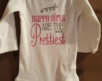 Happy Girls are the Prettiest onesie. Audrey Hepburn quote