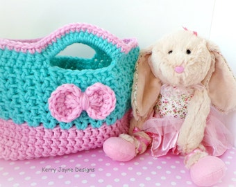 CUTIE BOW CROCHET Bag Pattern By Kerry Jayne, Girls Crochet Bag pattern Tote bag pattern Easter bag pattern Girls crochet purse pattern Usa