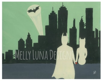 Work is Never Done, Batman and Catwoman Viewing Gotham City 11x14 Print (Digital Download)