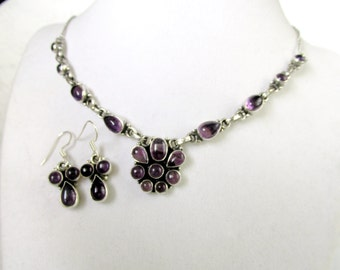 Natural Amethyst Open Back Gemstone Necklace And Earring Set On Sterling Silver 925 February Birthstone Vintage New Gift Item 2267