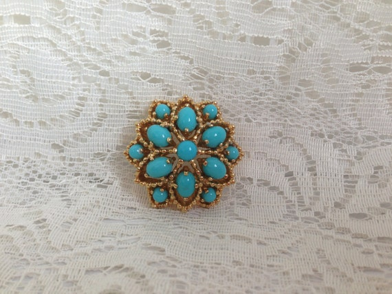 Vintage Panetta  Gold  with Faux Turquise Stones Brooch Pin