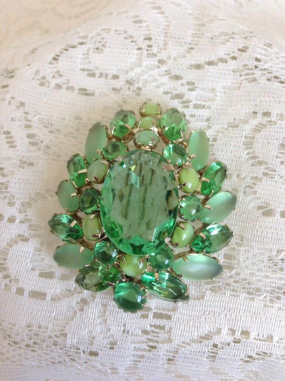 Vintage Green Brooch Pin with Irridescent Stones, and Green Moonstones