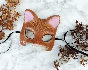 Handpainted Orange Cat Mask
