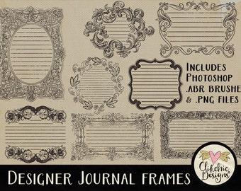 Frame Clipart - Vintage Frames & Photoshop Brushes - Digital Scrapbooking Journal Embellishments, Vintage Label Clip Art, Digital Frames