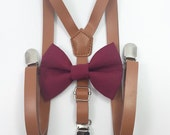 FREE DOMESTIC SHIPPING! Skinny 1/2 inch light brown faux leather suspenders and burgundy bow tie wedding pictures birthday formal