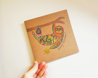 Hand Drawn Christmas Sloth Card. Personalized Christmas Card with Envelope. Animal Card.