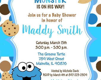 Cookie Monster Sesame Street Baby Shower Invitation - Digital Or Printed - FREE SHIPPING
