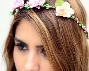 THE CLARA - sale! Bridal Pink and Orange Flower Crown Floral Wreath Woodland Rustic Circlet Bride Wedding Romantic Elegant Flower Girl