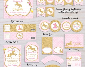 Unicorn Birthday Party Package, Pink and Gold, Rainbow Unicorn Birthday Invite, Sprinkle Invite, Gold Glitter first birthday, Printable pack