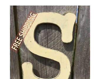 Distressed wooden letter S Gungsuh font Free Shipping! perfect for nursery decor, home decor, wedding decor, party decor, and party favors.