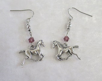 Horse earrings with purple crystal, nickel free earwires