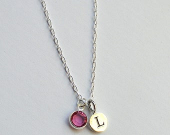Sterling silver initial birthstone necklace, Bridesmaid necklace, Birthstone necklace, Personalized initial necklace, Birthstone jewellery