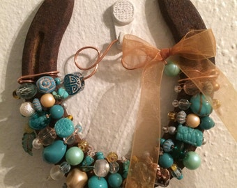 Made to order BEADED HORSESHOE with copper wire and beads in a variety of colors - buyer chooses the color