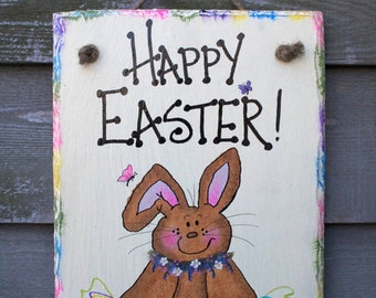 Bunny Rabbit hand painted Happy Easter with Eggs Wall-hanging Slate