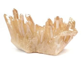 Tangerine Aura Quartz Crystal Cluster, Metaphysical Crystal For Chakra Balancing, Gridding and Altar Tools Q400V