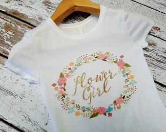 Glitter Flower girl / Flower Girl Gift / Wedding T-shirt Photo Prop
