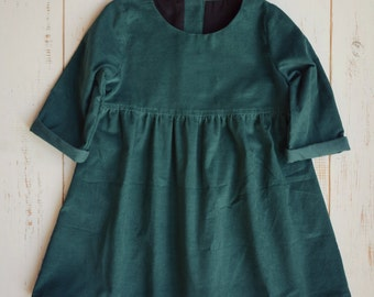 Green Girls Dress, Corduroy, Bottom Frill, Long Sleeve