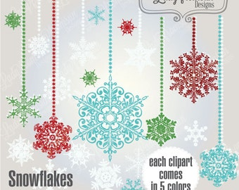 Snowflakes clipart , vector graphics, digital clip art, whimsy snowflake quirky snowflake, christmas decoration, Commercial-Personal Use