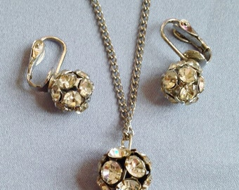 Clear Rhinestone Ball Necklace and Earrings Set