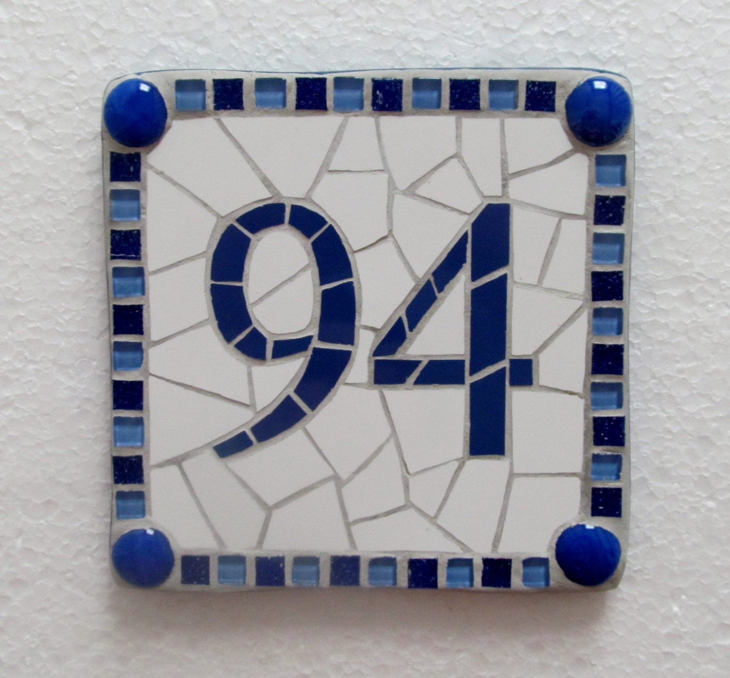 Custom made house number mosaic classic style different for Classic house numbers
