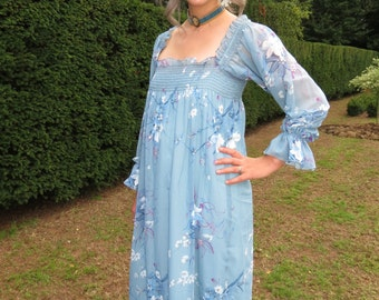 Vintage 1970s Blue Chiffon Sequined Party Dress by Pat Richards Great Condition