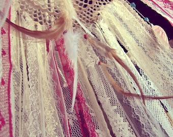 Gypsy Crib Mobile - Laces Dreamcatcher Mobile - Boho Bedroom - Bohemian Nursery - Feathers Mobile - Hippie Decor - Newborn Gift