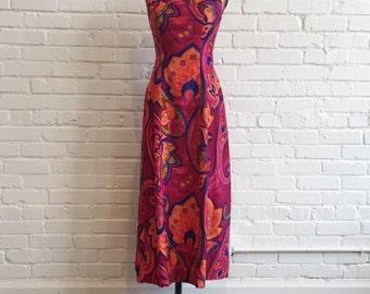 1960s Full Length Hawaiian Dress // 60s Honolulu Dress // Vintage 60s Tori Richard Honolulu Dress