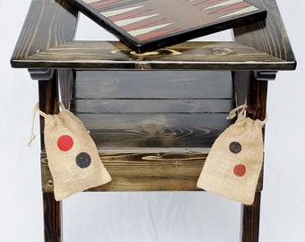 Backgammon Game / Checkers Game Table, Outdoor Wood Furniture Painted Chess Game Table, Reclaimed Wood, Handcrafted Folk Art