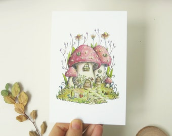 Postcard  Mushroom neighbourhood illustration - eco paper