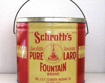 Fountain Brand Lard Tin Advertising Large Shortening Tub 20 POUND  J. & F Schroth's Tin Red Yellow Lard Tub Heekin Can Co. Fountain Square