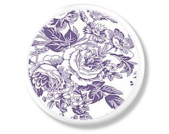 Purple and White Floral Toile Dresser Knob - Shabby Cottage, Chic Country, Victorian, Bath - Furniture, Drawer Pull, Cabinet Door - 315D26
