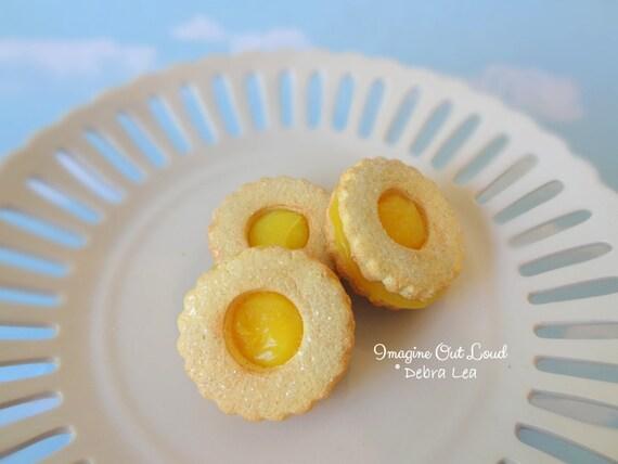 Fake Cookies Lemon Yellow Circle Sandwich Linzer Tart Set of 3