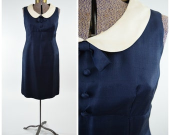 60s Navy Blue & White Peter Pan Collar Silk Shantung Pencil Sheath Dress // Mad Men Pinup Style by Domino Fashions