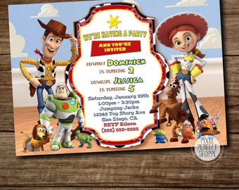 Toy Story Invitation, Woody and Jessie Invitation, Buzz Lightyear, Birthday Invitations, Invitations for Twins and Siblings, Two Themes