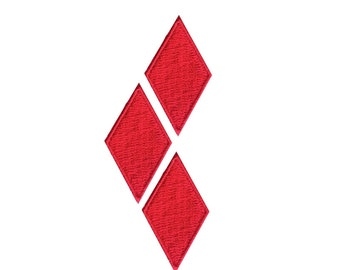 """3.5"""" set of 3  RED diamonds Harley Quinn patch Embroidered applique motif Iron on patch"""