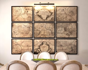 World Map Print : L'Isle's 1720  Guillaume de L'Isle ' mappe monde ' 9 panel world map - Not by restoration hardware