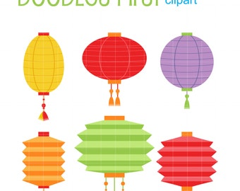 Mid Autumn Lanterns Clip Art for Scrapbooking Card Making Cupcake Toppers Paper Crafts
