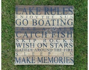 Lake Rules - Lake Sign - Lake Rules Sign - Lake House Sign - Boating Sign - Lake Sign - 15x15