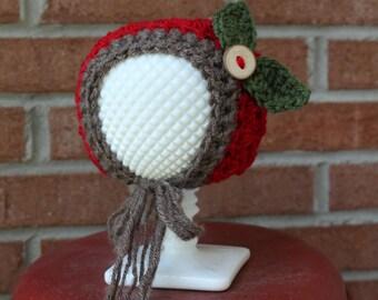 Handmade Baby Apple Bonnet Hat / Newborn Infant Crochet Photo Prop / Fall Autumn Photo Prop / Ohio State University OSU Buckeye Hat Prop