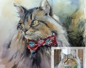 Custom Cat Portrait Painting, Original Watercolor Painting, Pet Portrait Commission