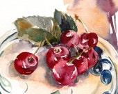 Cherries, Original Watercolor Painting, Still life Painting, Kitchen Art