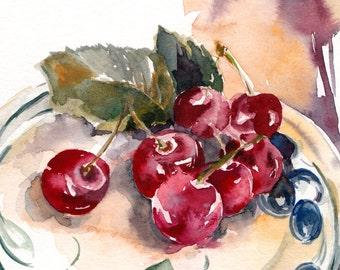 Cherries Original Watercolor Painting, Still life Painting, Kitchen Art