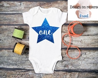 Personalised Baby BOY 1st Birthday Bodysuit / Babygrow / Vest / Blue / Star / Prince / Photo Op / First / Cake Smash
