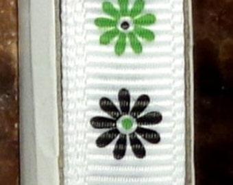 "2 Yards 3/8"" Black and Lime Green Daisy Print Grosgrain Ribbon"