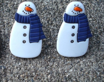 Snowman Earrings Christmas Holiday